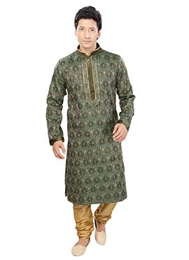 Safari Green Art Silk Kurta Pyjama