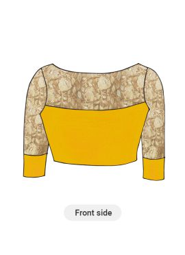 Saffron Artsilk Blouse with Gold Embroidered sleeves