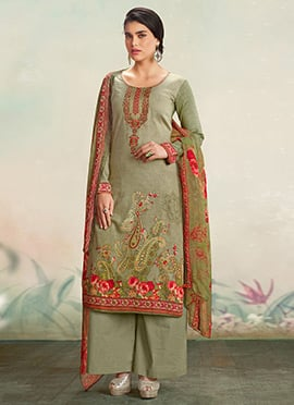 Sage Green Cotton Palazzo Suit