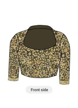 Sage Green Kalamkari Closed Collar Blouse