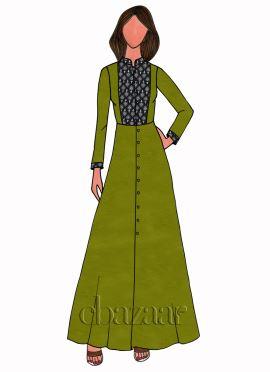 Sage Green Kalamkari Full Sleeve Kurti