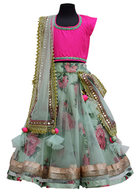 Fayon Sage Green Net Kids Lehenga Choli