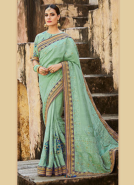 Sage Green Pure Silk Saree