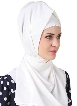 Sairah White Crepe Hijab