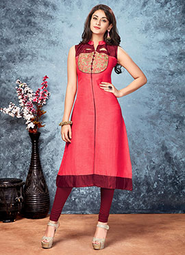Salmon Orange Art Silk Kurti