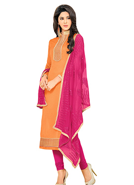 Salmon Orange Chanderi Art Silk Churidar Suit