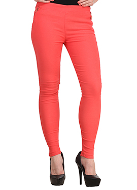 Salmon Peach Lycra Cotton Straight Pant