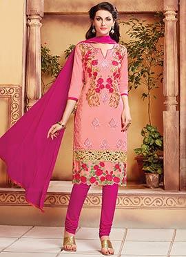 Salmon Pink Blended Cotton Churidar Suit