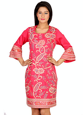 Salmon Pink Embroidered Tops