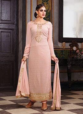 Salmon Pink Georgette Pakistani Suit