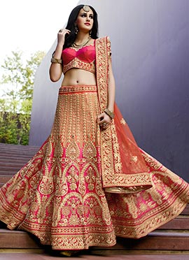 Salmon Pink N Pink Umbrella Lehenga Choli