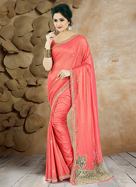 Salmon Pink Pure Georgette Saree
