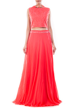 Salmon Pink Umbrella Lehenga Choli
