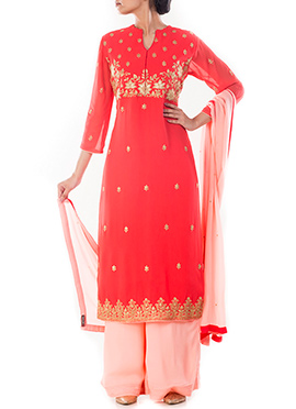 Salmon Red Pure Georgette Palazzo Suit