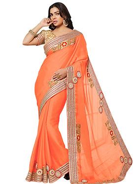 Sara Loren Orange Satin Chiffon Border Saree