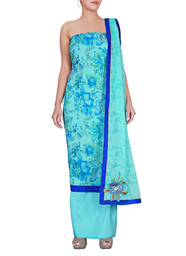 Sea Blue Chiffon Brasso Dress Material