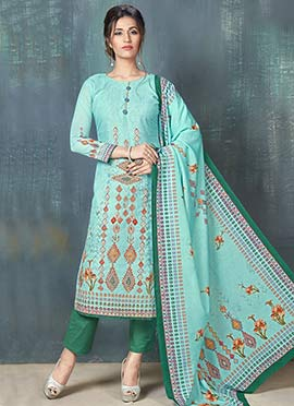 Sea Blue Embroidered Straight Pant Suit