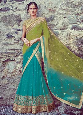 Sea Blue Simmer Georgette Lehenga Choli
