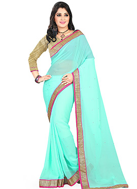 Sea Blue Georgette Saree