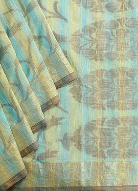Sea Blue N Yellow Benarasi Art Silk Saree