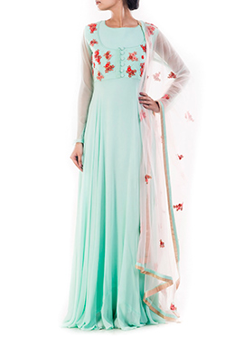 Sea Blue Pure Georgette Anarkali Suit