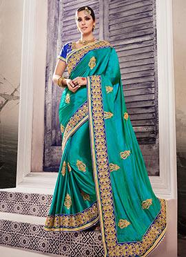 Sea Blue Satin Silk Saree