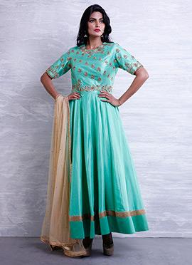 Sea Green Art Dupion Silk Anarkali Suit