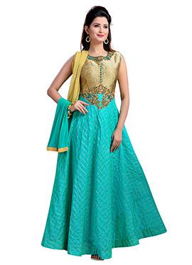 Sea Green Art Silk Anarkali Suit