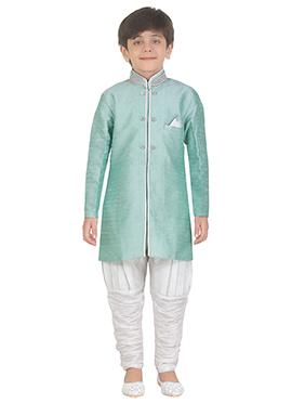 Sea Green Art Silk Kids Kurta Pyjama