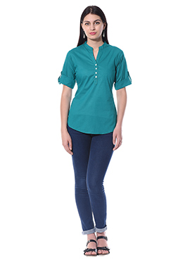 Sea Green Blended Cotton Top