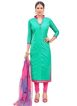 Turquoise Green Chanderi Cotton Churidar Suit