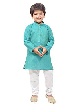 Sea Green Cotton Kids Kurta Pyjama