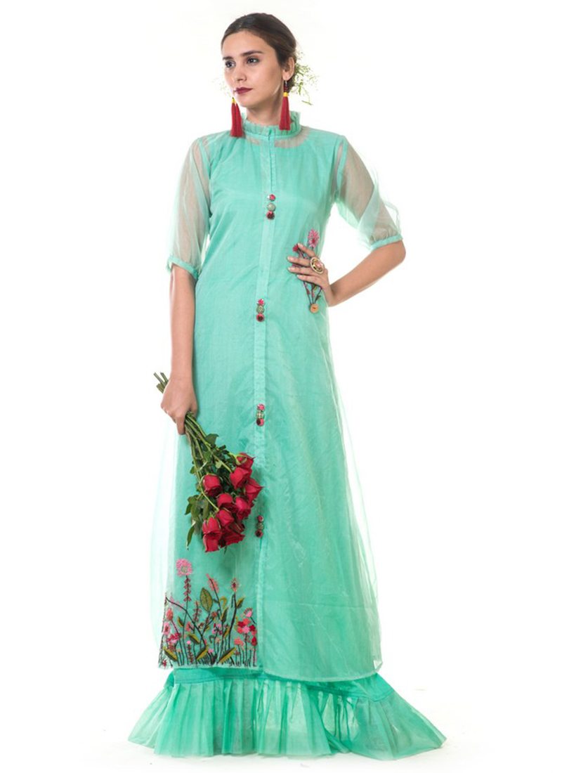 24ace4e778 Buy Sea Green Embroidered Gown, Embroidered, dresses and gown ...