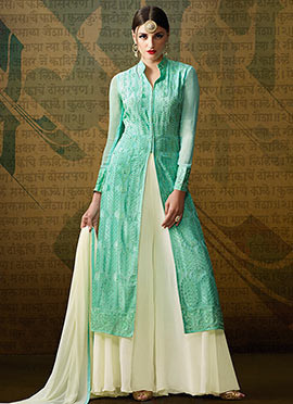 Sea Green Santoon Palazzo Suit