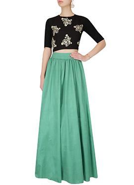 Sea Green N Black Art Silk Skirt Set