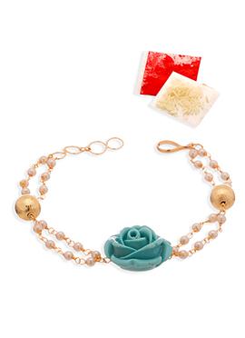 Sea Green N Golden Beads Rakhi