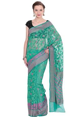 Sea Green Net Saree