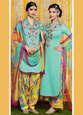Sea Green Pure Cotton Satin Patiala Suit