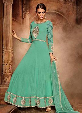 Sea Green Silky Georgette Anarkali Suit