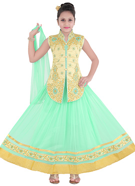 Sea Green Teens Lehenga Choli