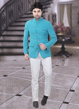 Sea Green Terry Rayon Bandhgala Suit