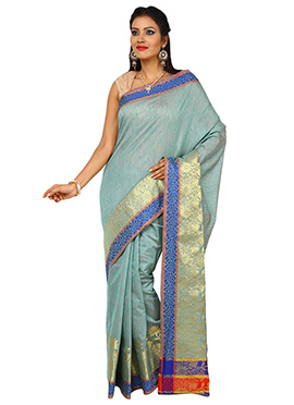 Sea Green Tussar Silk Zari Weaved Border Saree