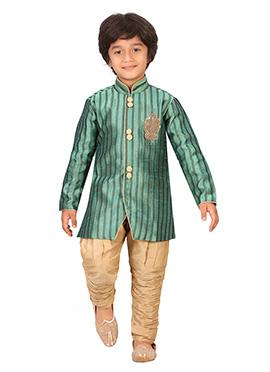 Seige Green Silk Blend Boys Sherwani