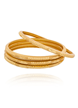 Self Pattern Designed Golden Bangles