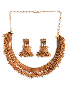 Semi Circular Golden Necklace Set