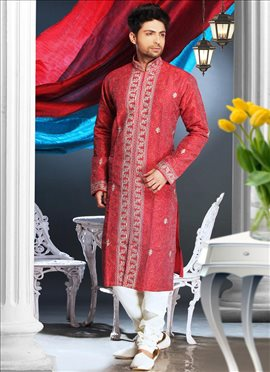 Sensational Embroidered Art Silk Kurta Pyjama