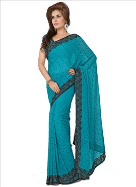 Sensational Look Crystals Enhanced Chiffon Saree
