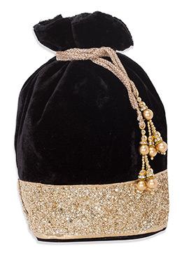 Sequins Black Velvet Potli Bag