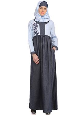 Shadiyah Bluish Grey N Light Blue Abaya