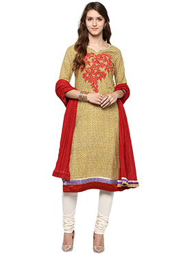 Shakumbhari Beige Cotton Churidar Suit